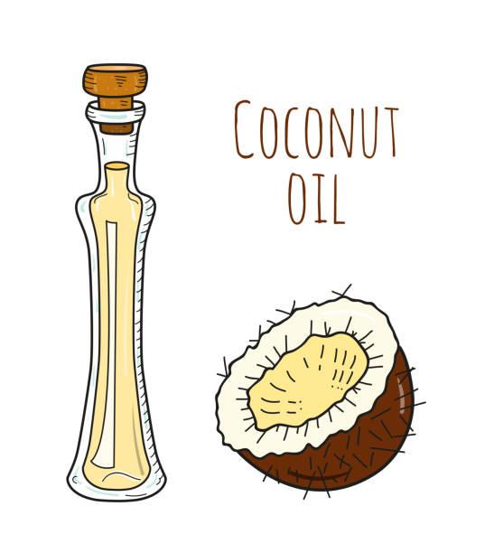 Botella de aceite de coco elaborado mano colorido - ilustración de arte vectorial