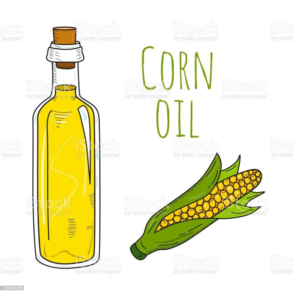 Colorful hand drawn corn oil bottle vector art illustration