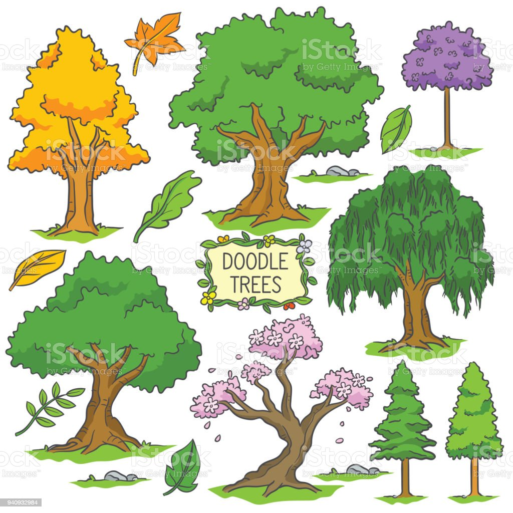 Colorful Hand Drawn Doodle Tree Stock Vector Art & More Images of ...