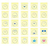 Vector illustration of a collection of cute and colorful hand drawn emoticons on adhesive notes. Like and favorite designs included.