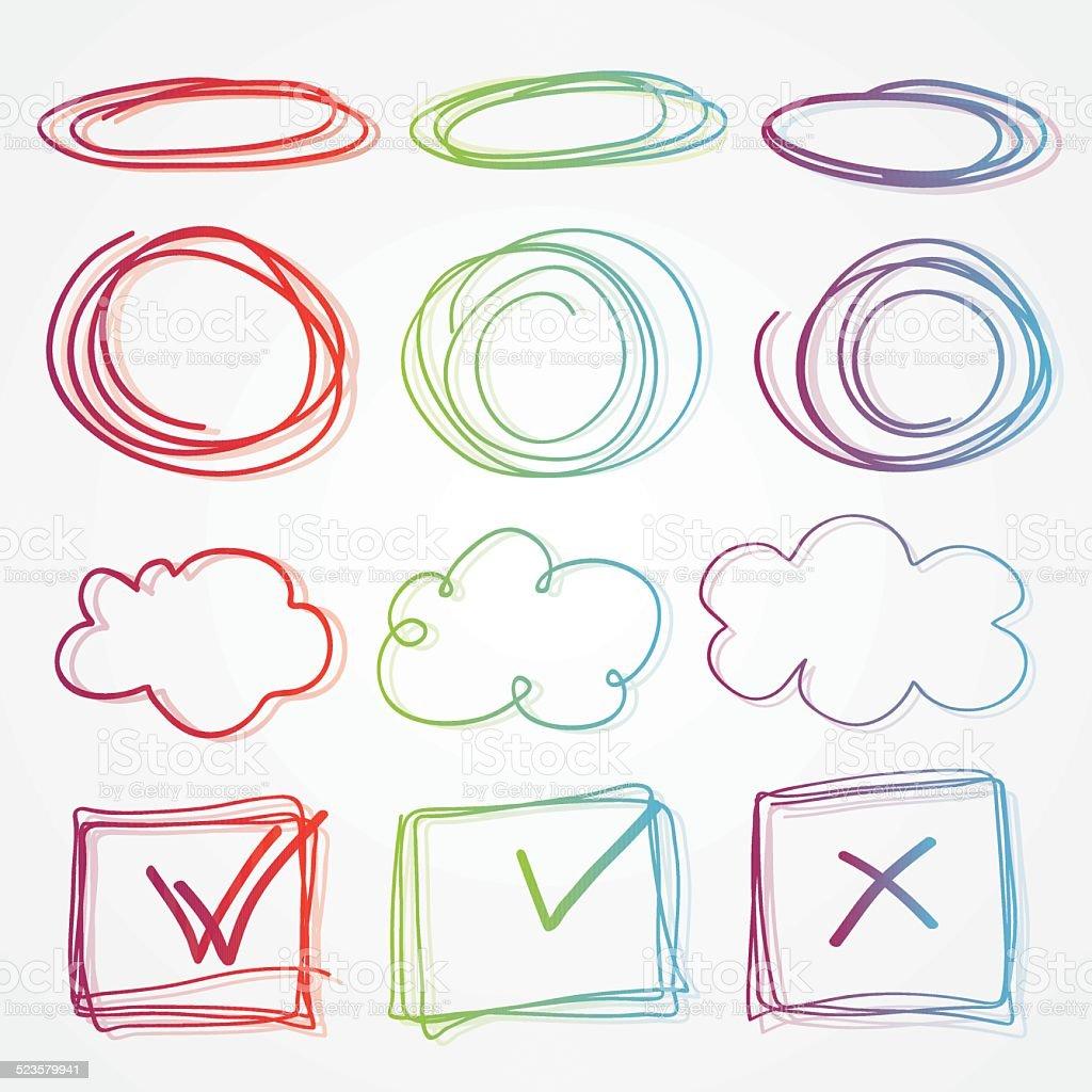 Marcos Dibujados A Mano De Hermosos Colores Y Nube De Pensamiento ...