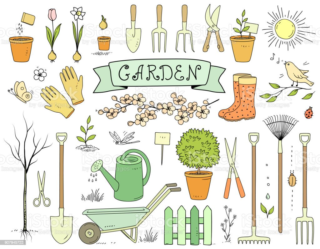 colorful hand drawn garden tools set vector art illustration