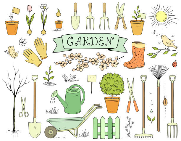 illustrations, cliparts, dessins animés et icônes de colorful main dessiné ensemble d'outils de jardin - jardinage
