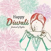 Colorful hand drawn Happy Diwali with female children and burning diya illustration. Vintage elegant festival of lights vector eps 10.