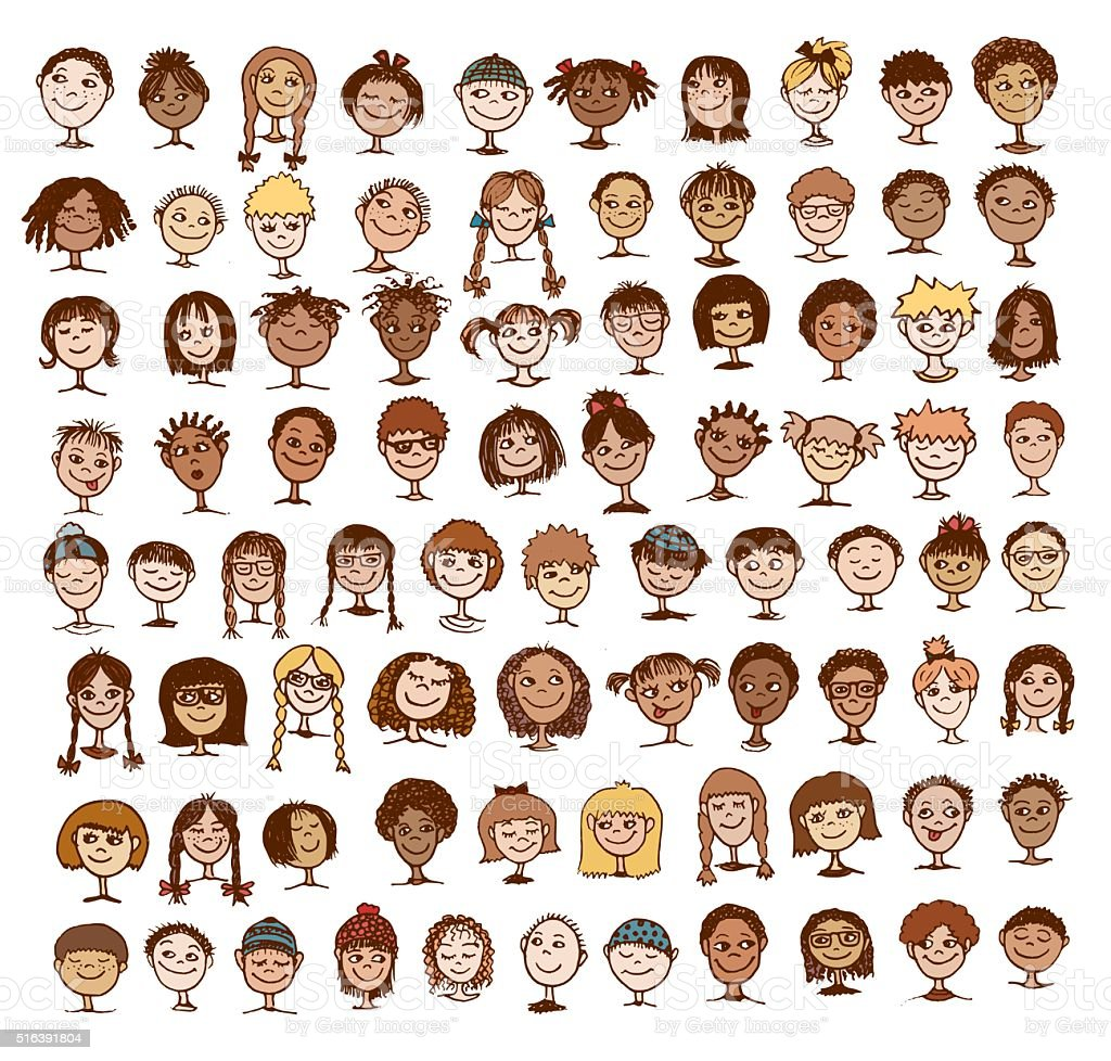 Colorful hand drawn kids' faces vector art illustration