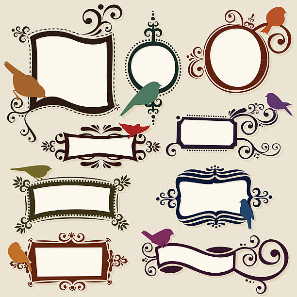 Colorful hand drawn label collection vector art illustration