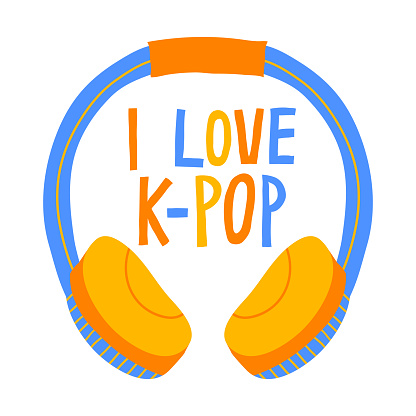 """Colorful hand drawn lettering and headphones isolated on white background. """"I love k-pop"""" sign."""