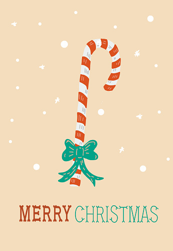 Colorful Hand drawn Merry Christmas Holiday Greeting card with candy cane
