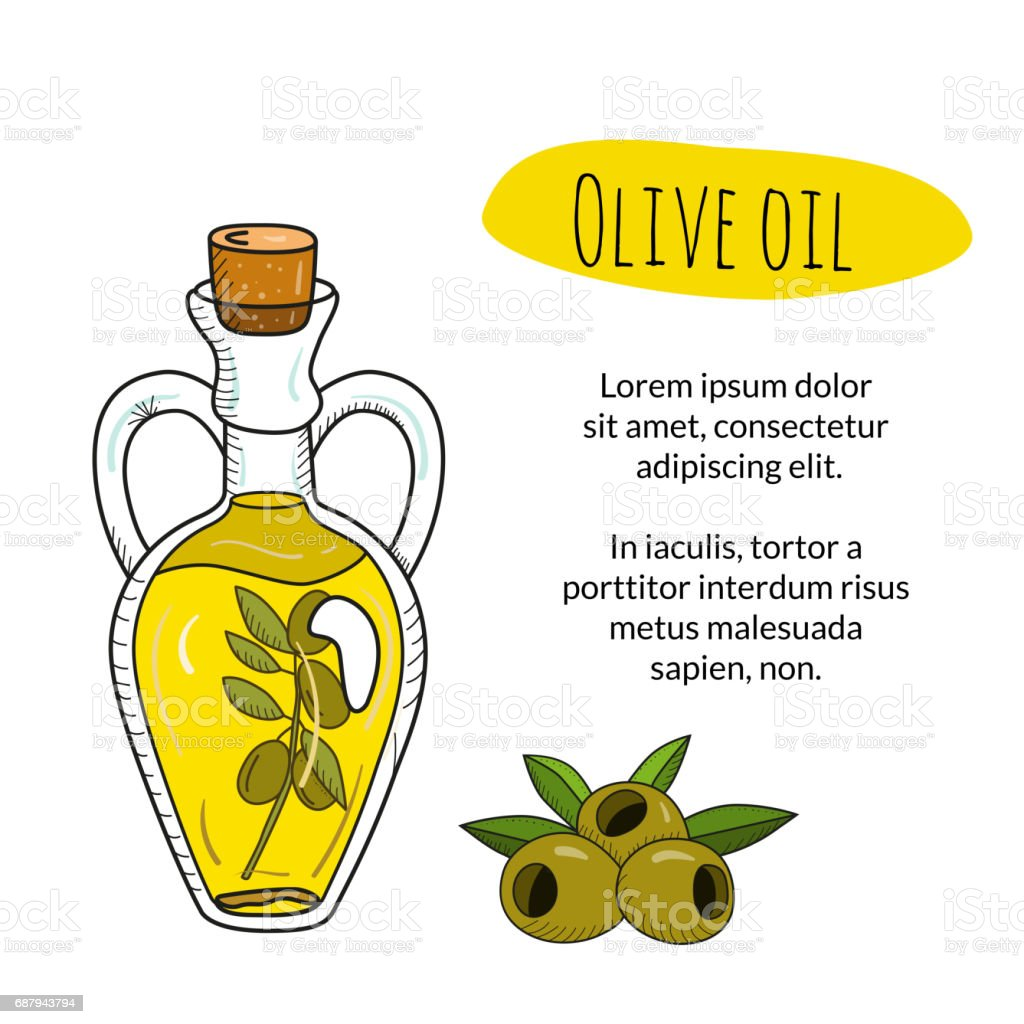 Colorful hand drawn olive oil bottle with sample text vector art illustration
