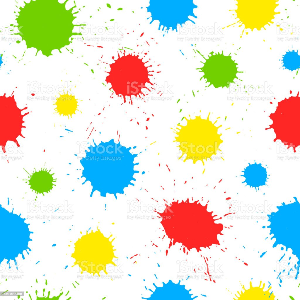 Colorful hand drawn paint splashes on white background. Vector seamless pattern with color ink strokes, design for kids. - Royalty-free Abstract stock vector