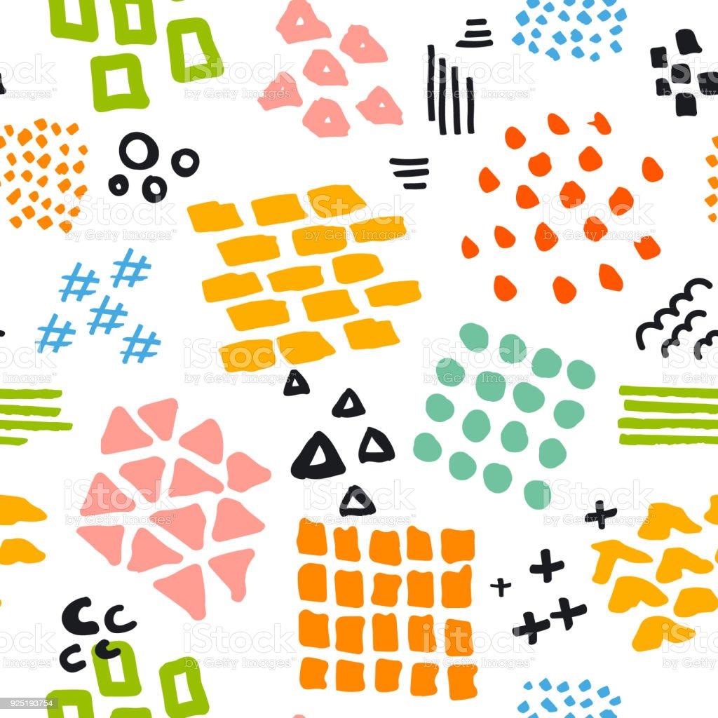 Dibujado A Mano Colores Formas Y Texturas Abstractas De Patrones Sin ...