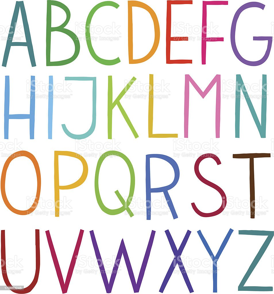 Colorful hand drawn vector full alphabet vector art illustration