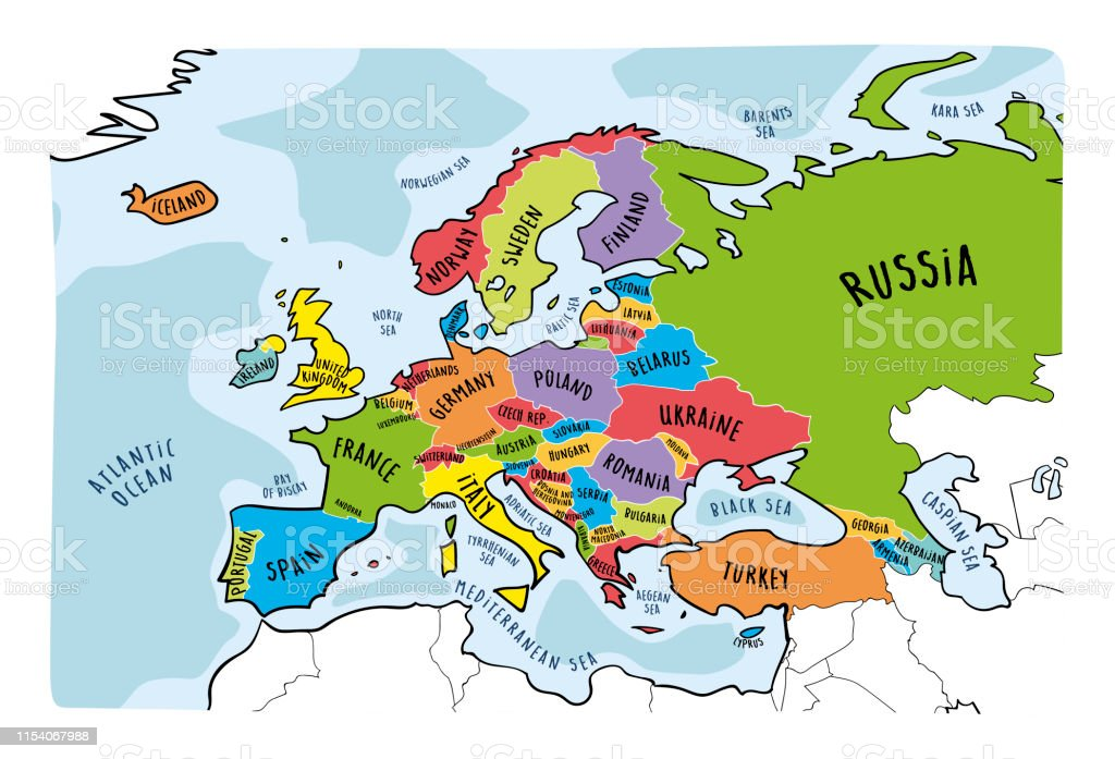 Colorful hand drawn vector map of Europe with countries names. Doodle...