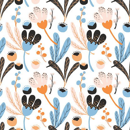 Colorful hand drawn wild flowers seamless pattern background, in pink, blue and black theme