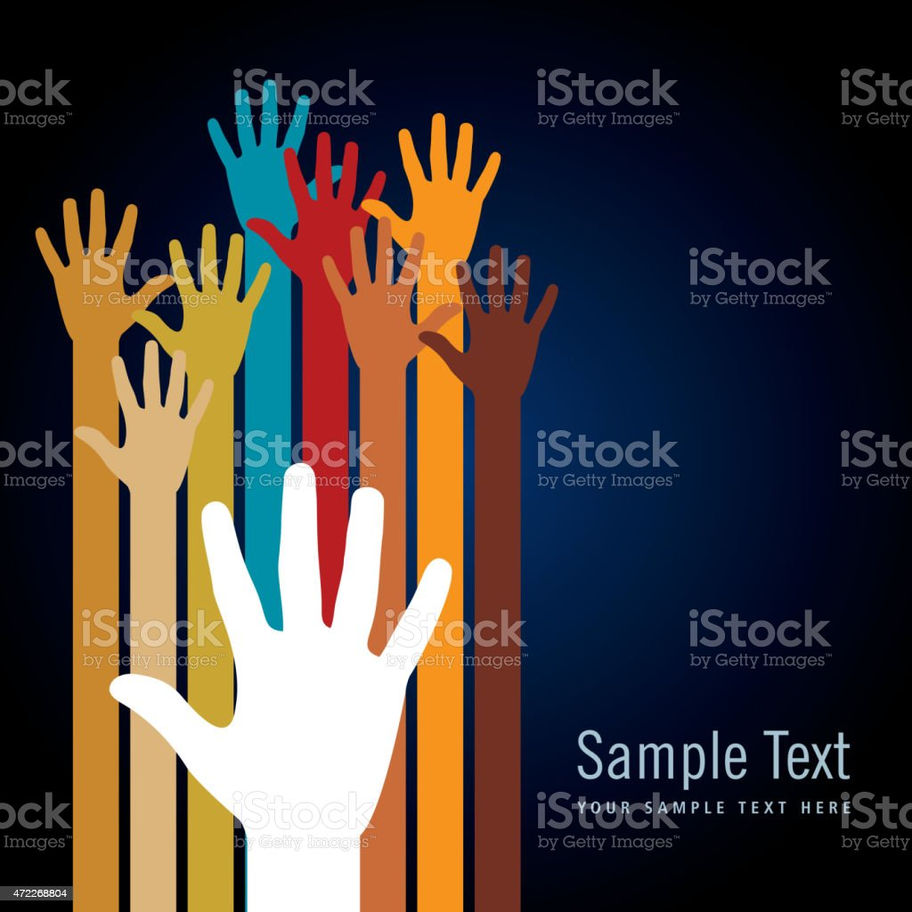 Colorful hand illustrations on black background template vector art illustration