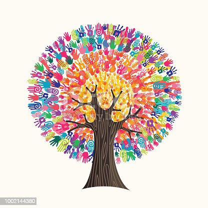 istock Colorful hand print tree concept for social help 1002144380