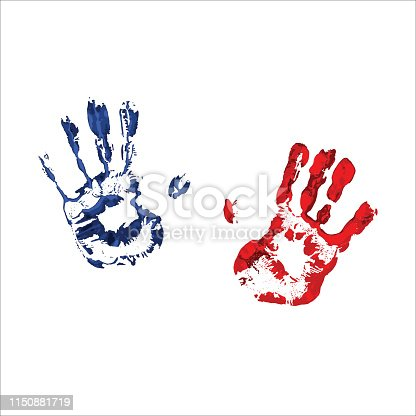 colorful handprints on transparent background. paint marks. abstract vecror image