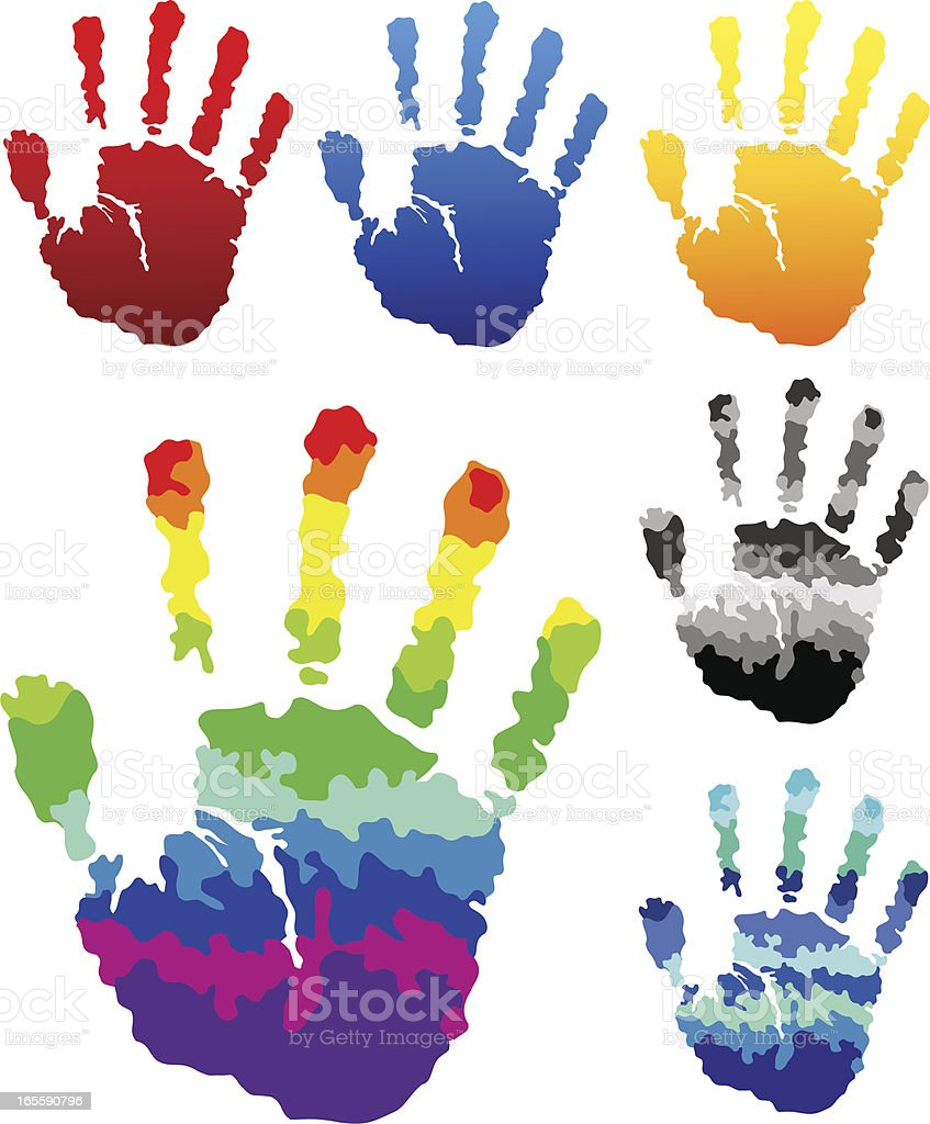 Colorful Hand Prints vector art illustration