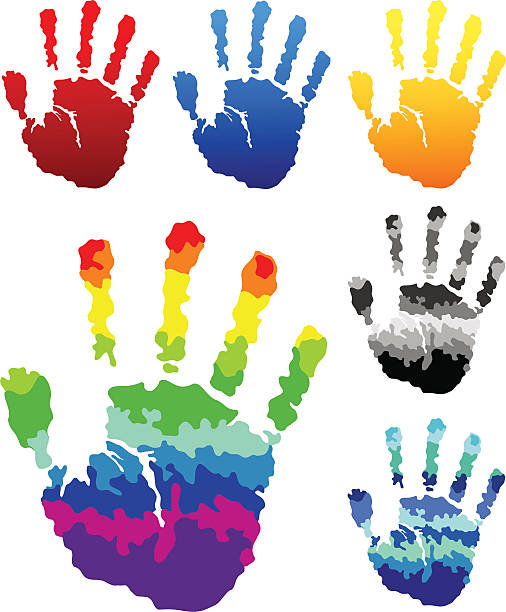 colorful hand prints - byteandpixel stock illustrations