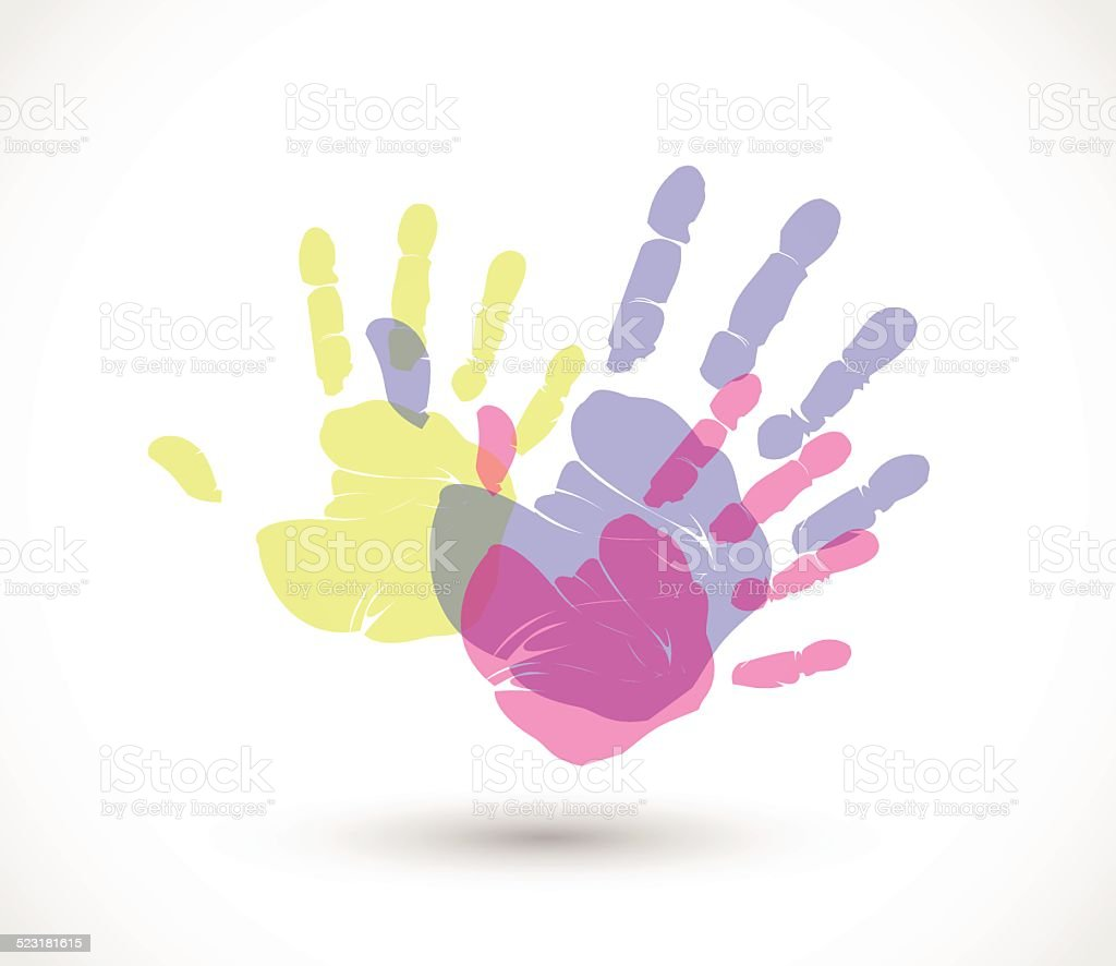 Colorful hand prints vector vector art illustration