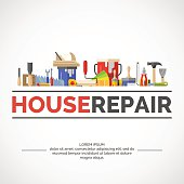 Hand tools for home renovation and construction. Tools in a bright, flat style. A colorful poster , vector illustration.
