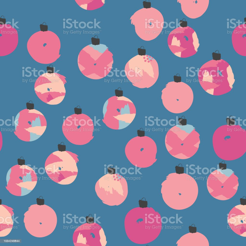 Colorful Handdrawn Christmas Balls Seamless Pattern It Can Be Used
