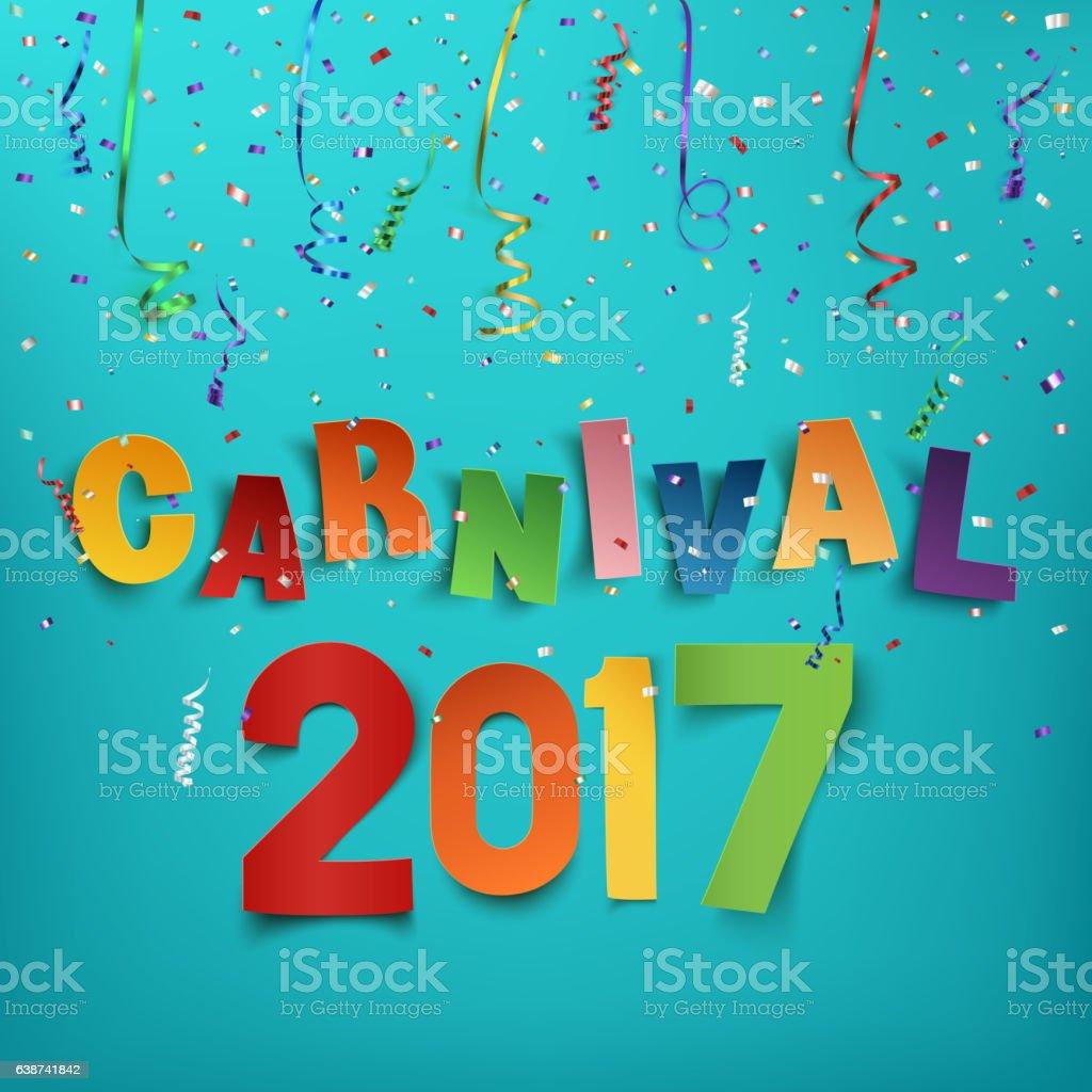 Colorful handmade typographic word carnival 2017. vector art illustration