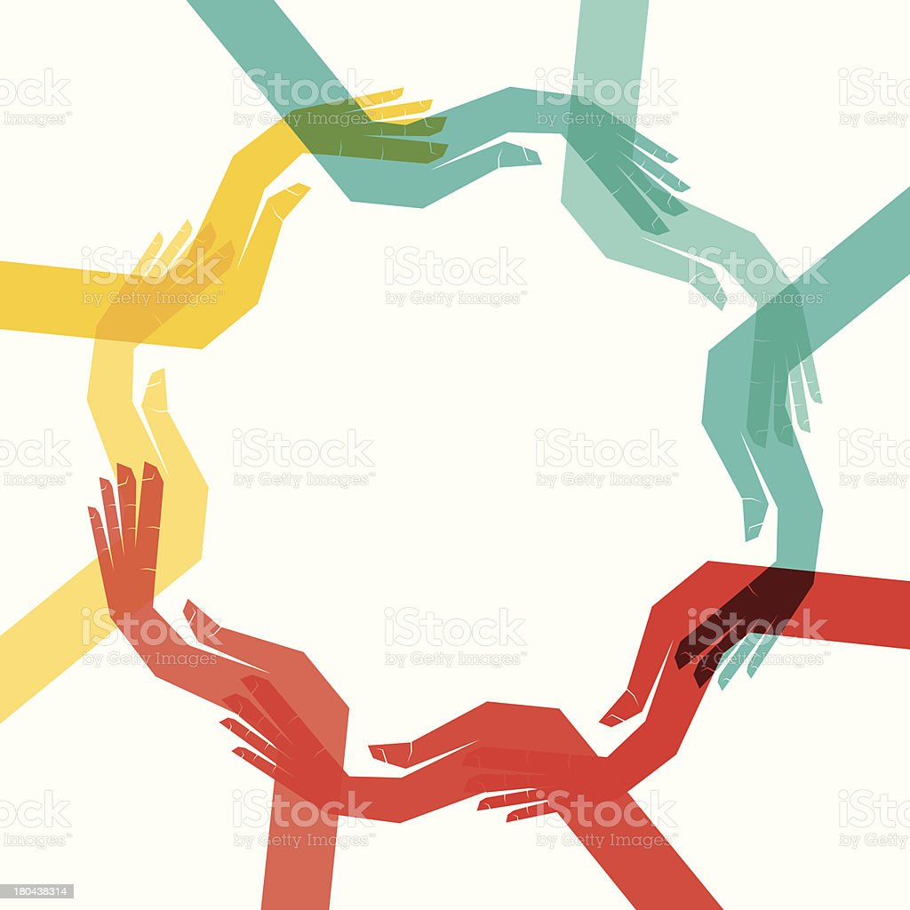 Colorful hands in a circle reaching for each other royalty-free stock vector art