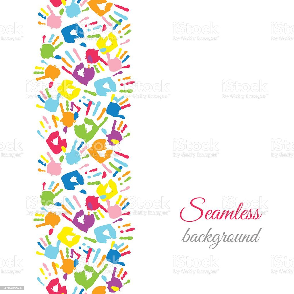 Colorful hands. Seamless border background. vector art illustration