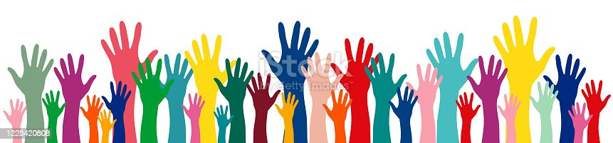 Colorful hands up banner vector illustration. Multinational international concept of team, volunteer group, friendship, unity, association, company, partnership, equality, celebration party background