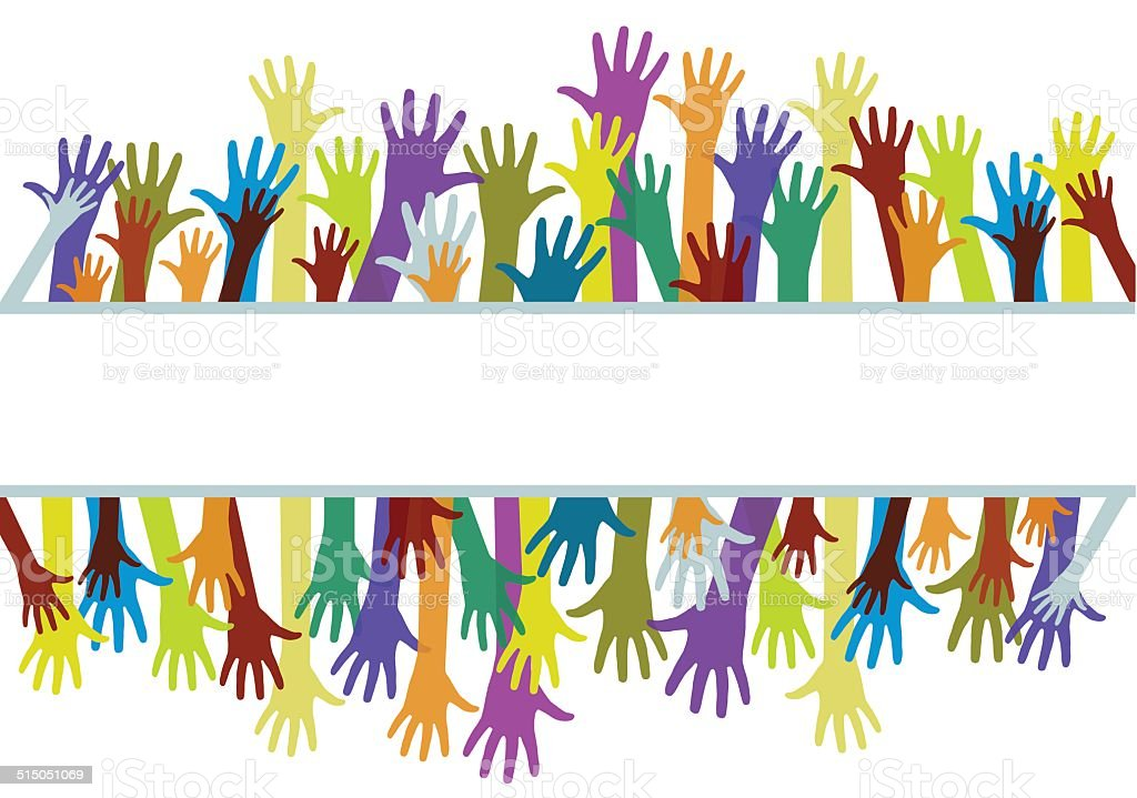 Colorful hands vector art illustration