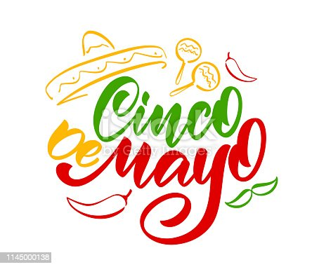 istock Colorful Handwritten calligraphic type lettering of Cinco De Mayo with hand drawn sombrero, maracas and pepper 1145000138