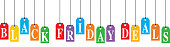 Vector illustration of colorful hanging black Friday deals tags.