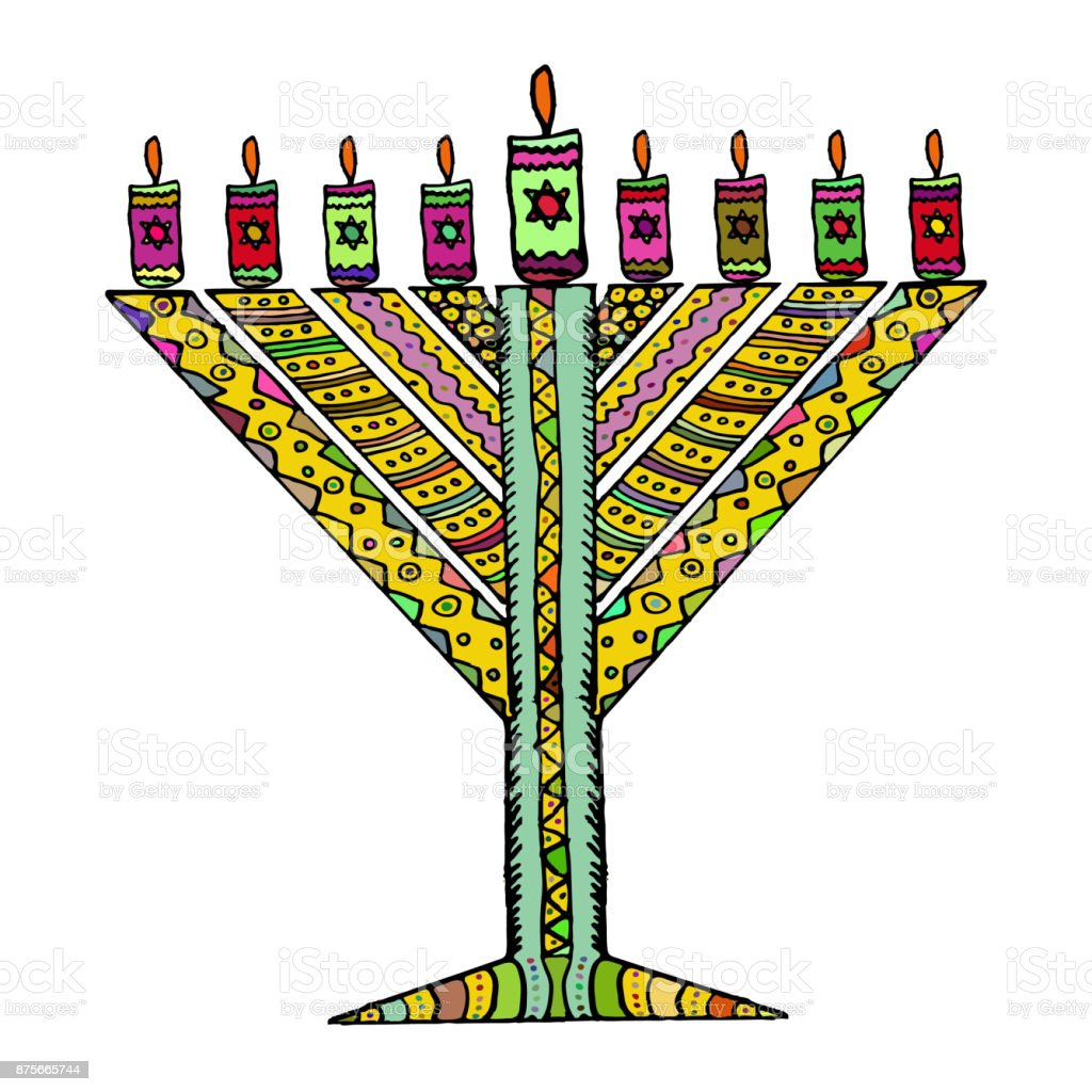 Colorful Hanukkah In The Style Of Doodle Triangular Chanukiah Chabad