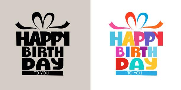 ilustraciones, imágenes clip art, dibujos animados e iconos de stock de 3d colorido caligrafía de cumpleaños feliz 0006 - cumpleaños