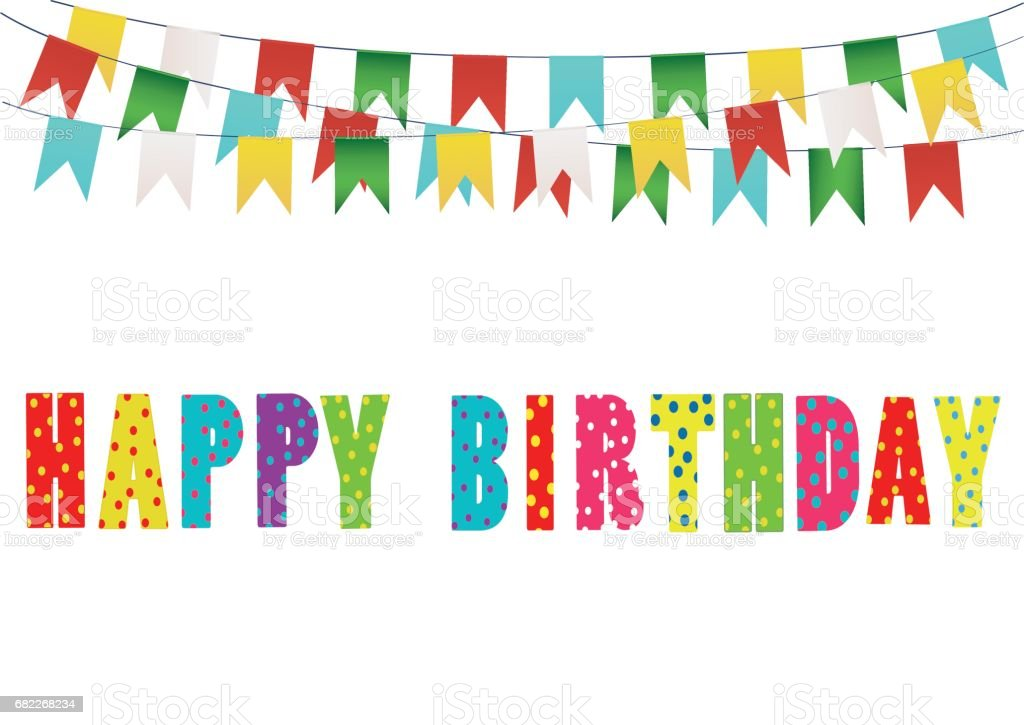 Colorful Happy Birthday Candles Rainbow Garland Of Flags Letters And Balloons Greeting Card Or Invitation For A Holiday Vector