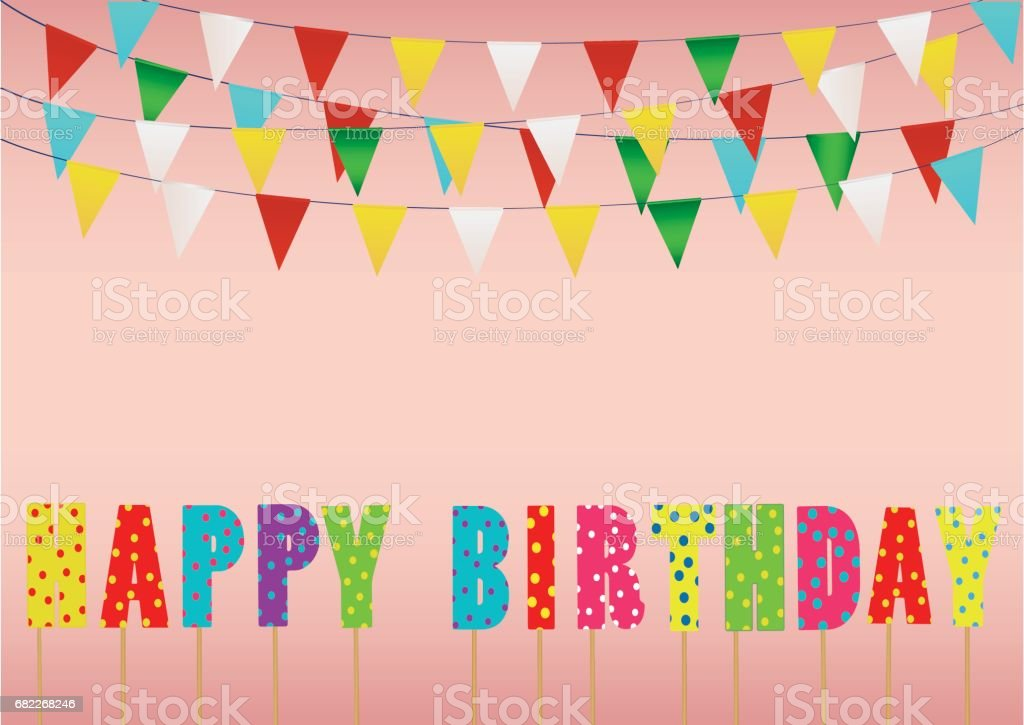 Colorful Happy Birthday Candles Rainbow Garland Of Flags Letters