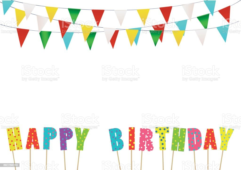 Colorful Happy Birthday Candles Rainbow Garland Of Flags Letters Greeting Card Or Invitation