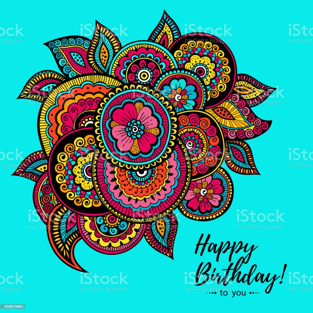 Colorful Happy Birthday Card With Indian Floral Pattern Gift For Your Friend