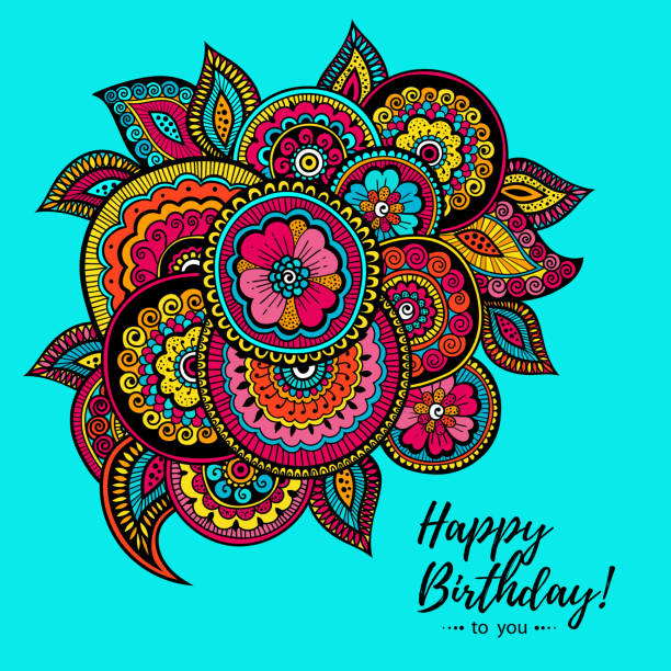 インド花柄のカラフルなハッピーバースデー カード。あなたの友人のためのギフト。 - アジアのタトゥー点のイラスト素材/クリップアート素材/マンガ素材/アイコン素材