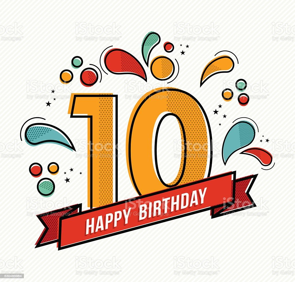 Colorful happy birthday number 10 flat line design