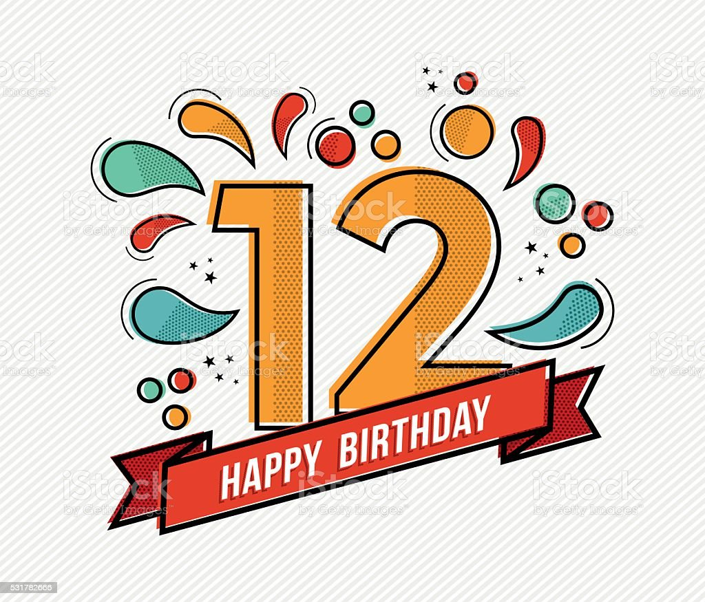 Colorful happy birthday number 12 flat line design vector art illustration