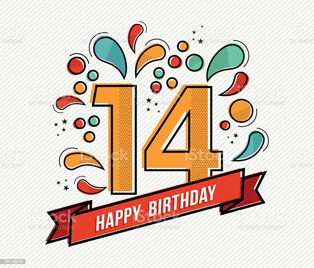 Colorful happy birthday number 14 flat line design vector art illustration