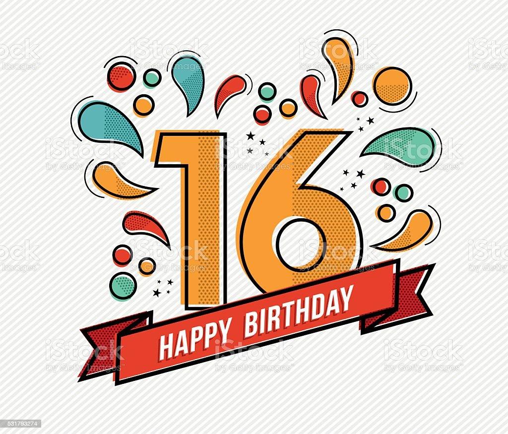 Colorful happy birthday number 16 flat line design vector art illustration