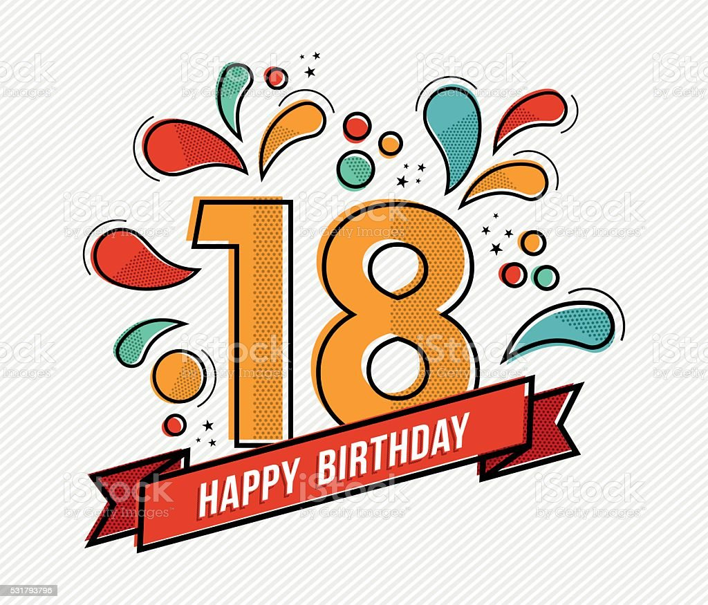 Colorful happy birthday number 18 flat line design vector art illustration