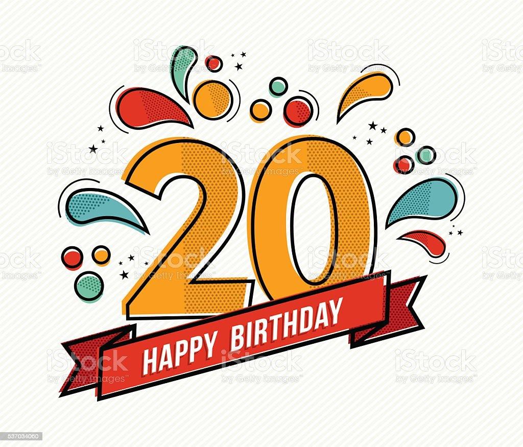 Bunte alles Gute zum Geburtstag Zahl 20 flache Linie design – Vektorgrafik