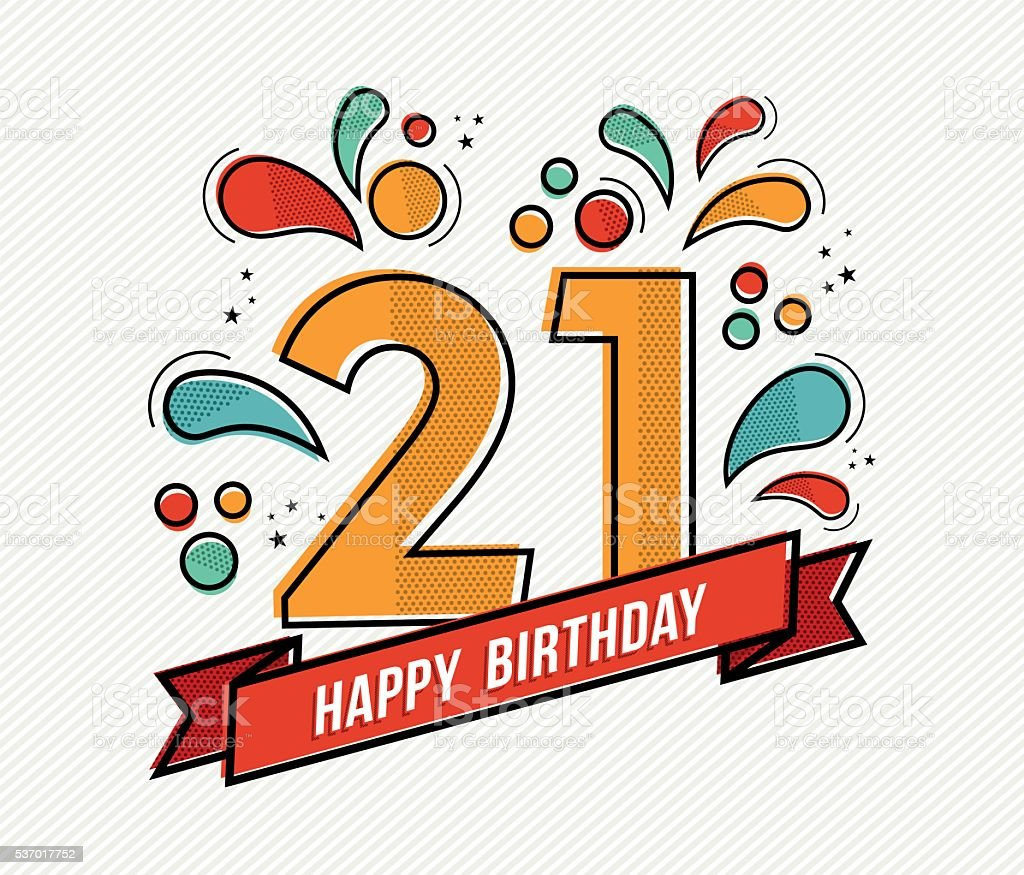 Bunte Alles Gute Zum Geburtstag 21 Flache Linie Design Stock Vektor ...