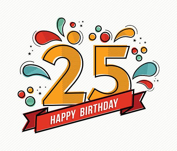 bildbanksillustrationer, clip art samt tecknat material och ikoner med colorful happy birthday number 25 flat line design - 25 29 år