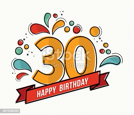 Happy birthday number 30, greeting card for thirty year in modern flat line art with colorful geometric shapes. Anniversary party invitation, congratulations or celebration design. EPS10 vector.