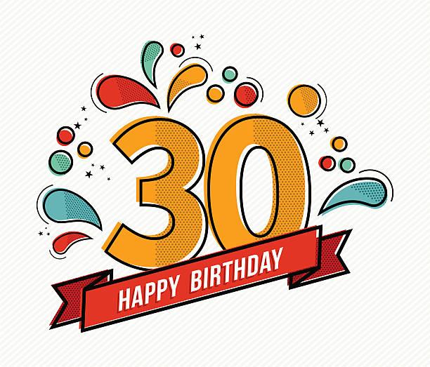 Colorful happy birthday number 30 flat line design vector art illustration